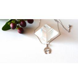 Silberkette/Anhänger - Kraftsymbol Hufeisen-Lichtstrahl-Schutz-Glücksbringer